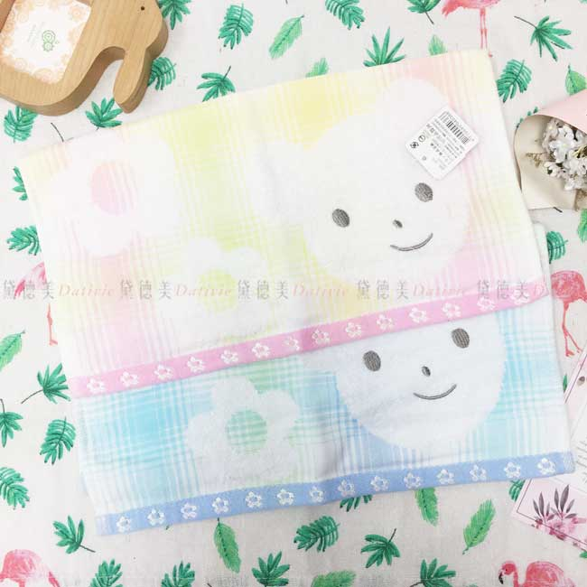 方巾 可愛小熊 花 格紋 2色 100%棉 毛巾