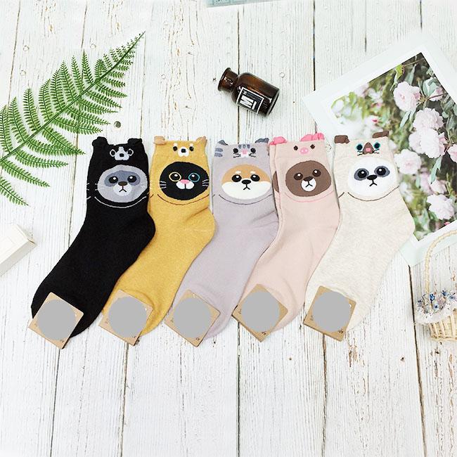 韓國 22-26cm 可愛動物 黑 黃 灰 粉 米 中長襪 成人襪 襪子