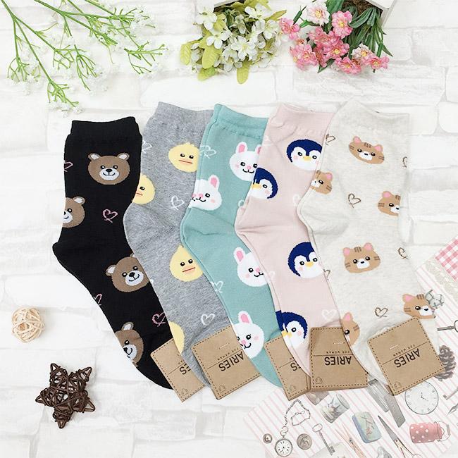 韓國 22-26cm 可愛動物 黑 灰 綠 粉 米 中長襪 成人襪 襪子