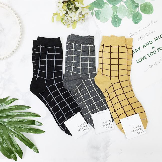 韓國 22-26cm 格子 黑 灰 黃 中長襪 成人襪 襪子