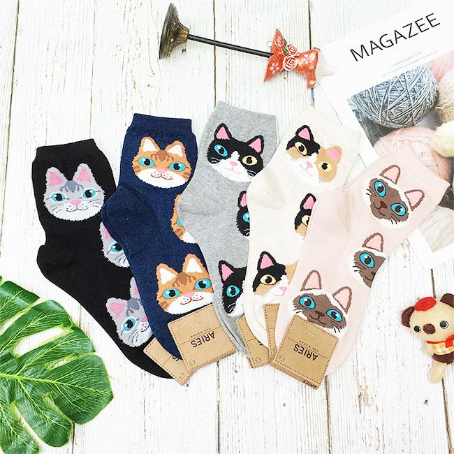 韓國 22-26cm 貓咪 大臉 黑 藍 灰 粉 米 中長襪 成人襪 襪子