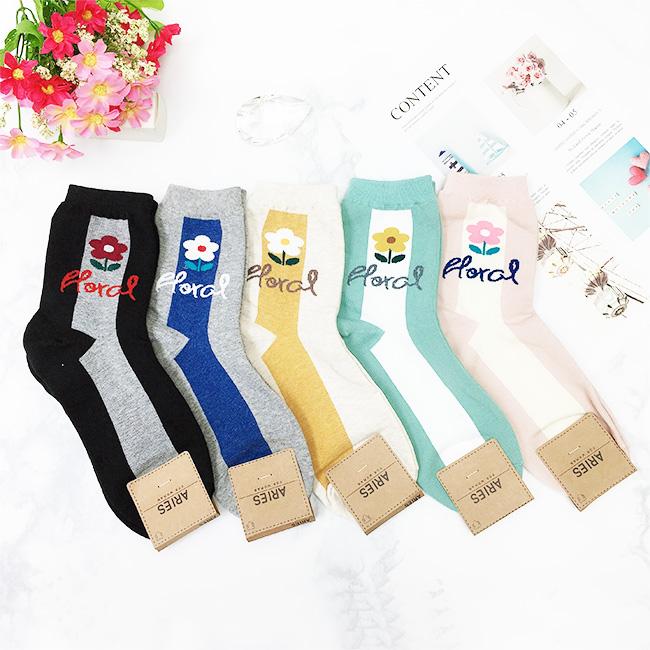 韓國 22-26cm 花朵 線條 雙色 黑 藍 灰 粉 米 中長襪 成人襪 襪子