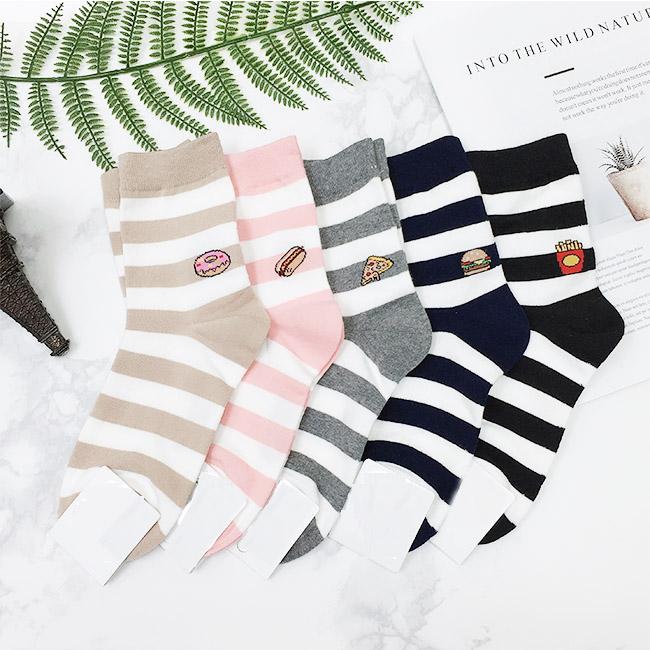 韓國 22-26cm 食物 線條 黑 咖啡 粉 灰 藍 中長襪 成人襪 襪子