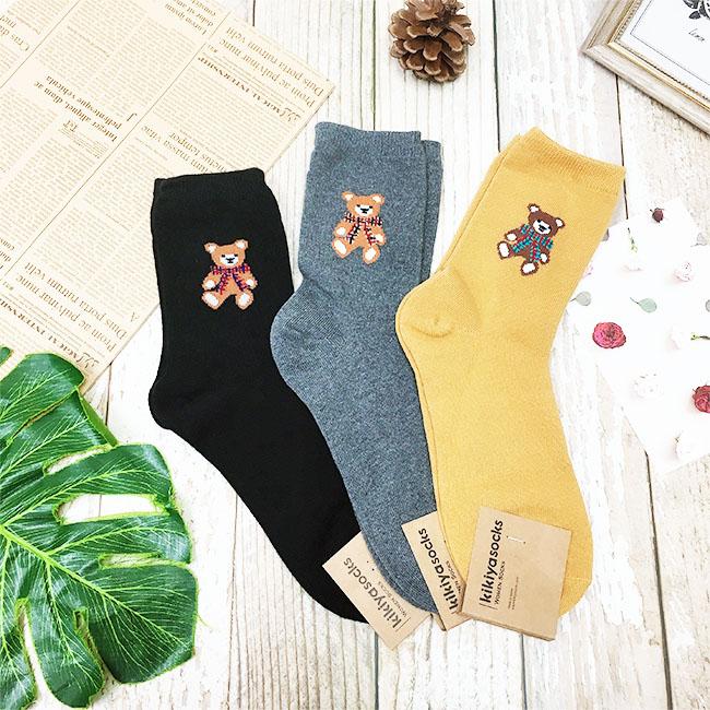 韓國 22-26cm 小熊 黑 灰 黃 中長襪 成人襪 襪子