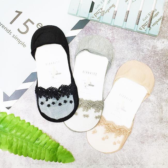 韓國 22-26cm 蕾絲 透膚 黑 灰 膚 隱形襪 成人襪 襪子