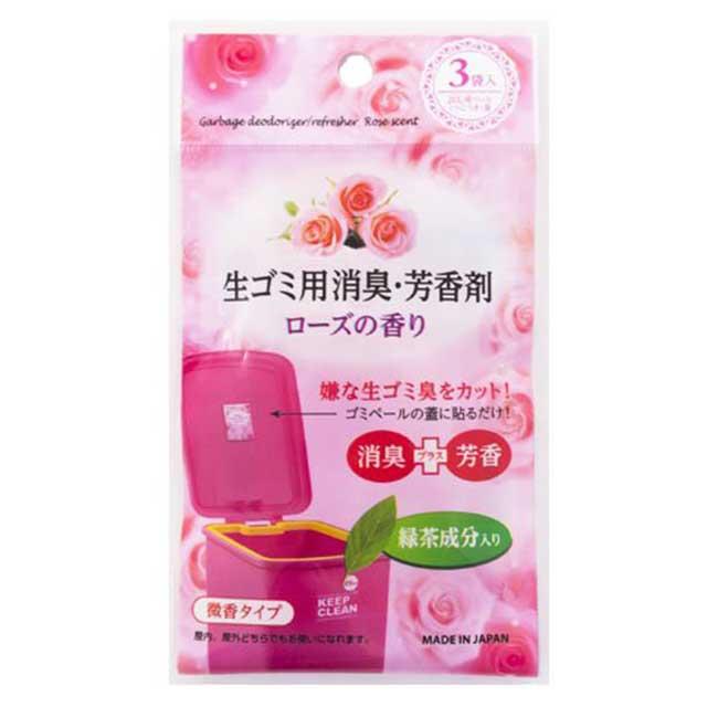 清潔錠 玫瑰 圾垃桶 芳香 C-1648 3入袋 日本製