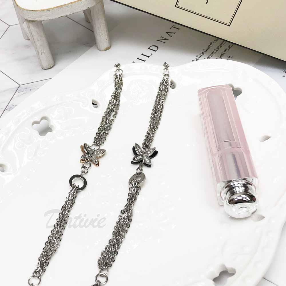 不銹鋼 雙蝴蝶 立體 玫瑰金 黑 細鍊 手鍊 手飾