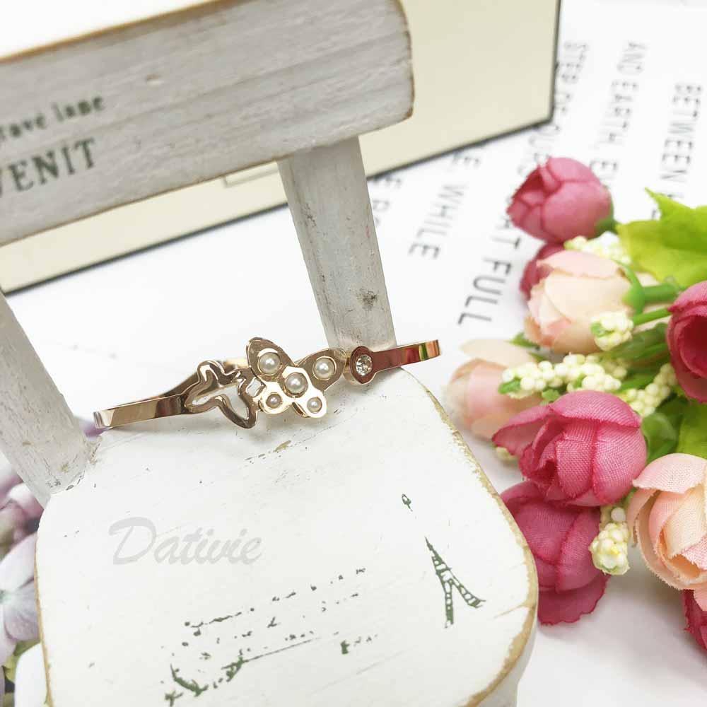 不銹鋼 雙蝴蝶 珍珠鏤空 鑲鑽 細版手環 手飾