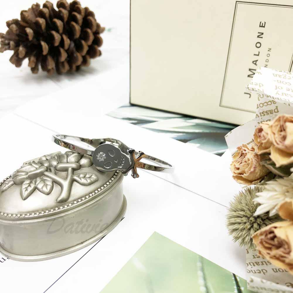 不銹鋼 骷魯頭 鑲鑽 細版 個性 手環 手飾