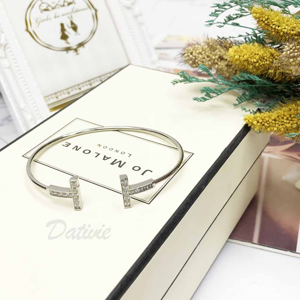 不銹鋼 簡約 雙T 之名品牌 設計款 細版 優雅 精緻 手環 手飾