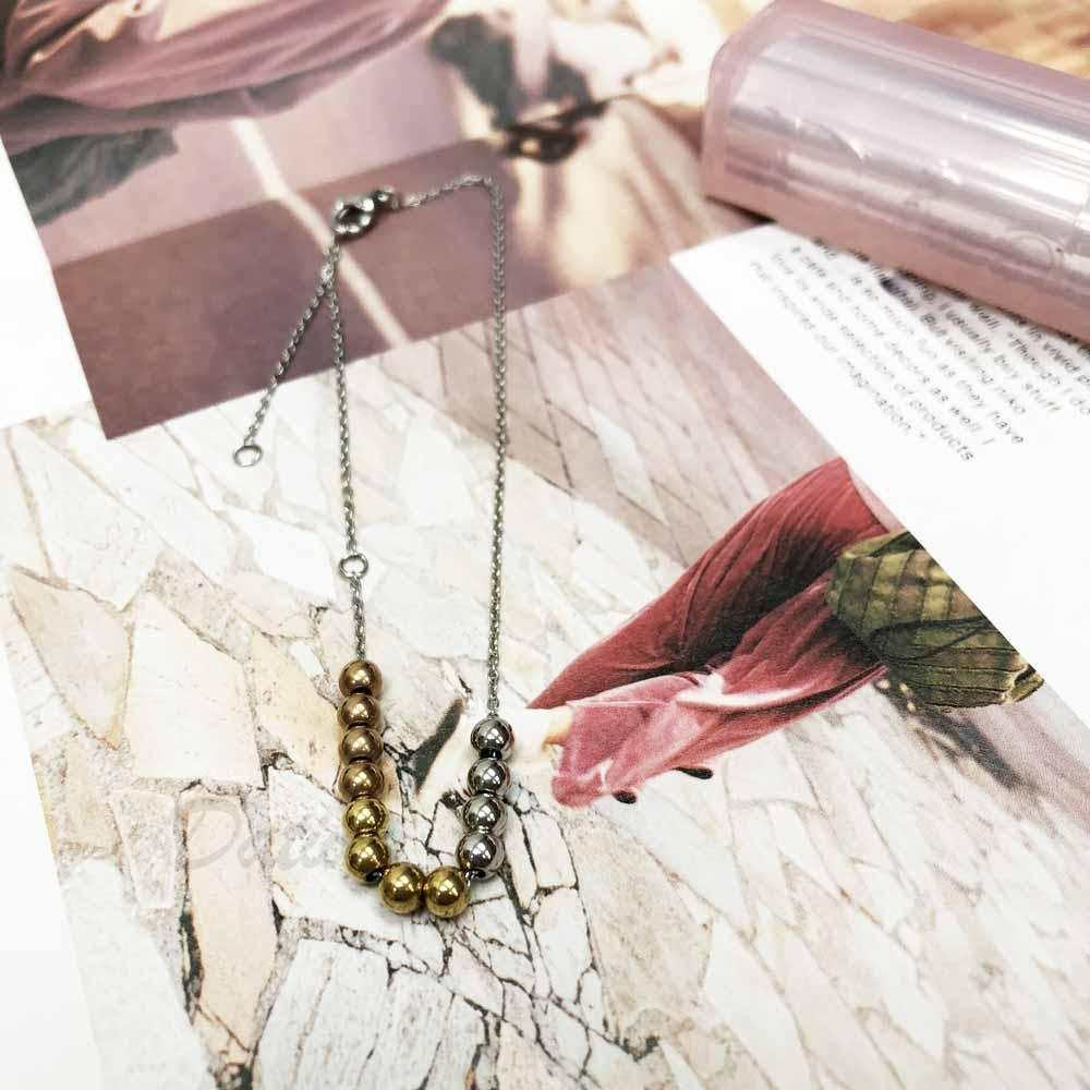 不銹鋼 設計 點綴 珠珠 玫瑰金 細緻 精緻 氣質 秀氣 手鍊 手飾