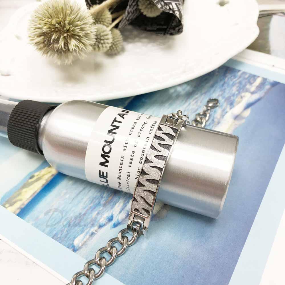 不銹鋼  豹紋 黑銀 鑲鑽 寬版 手鍊 手飾