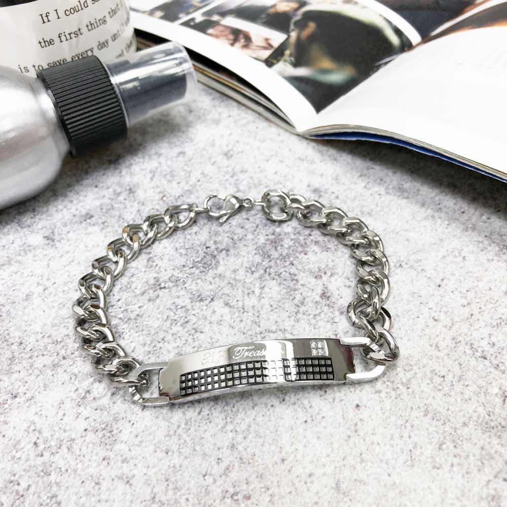 不銹鋼 立體 黑格紋 鑲鑽 4顆 寬版 手鍊 手飾