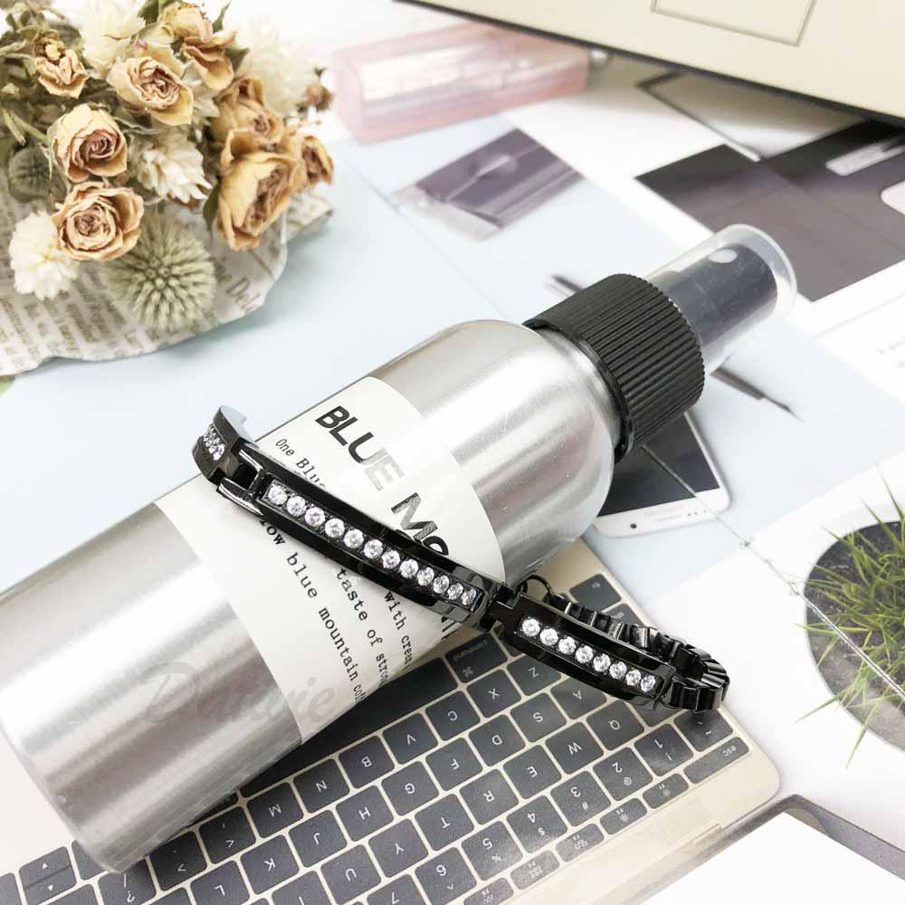 不銹鋼 簡約 線條  排鑽 黑  個性 細版 手鍊 手飾