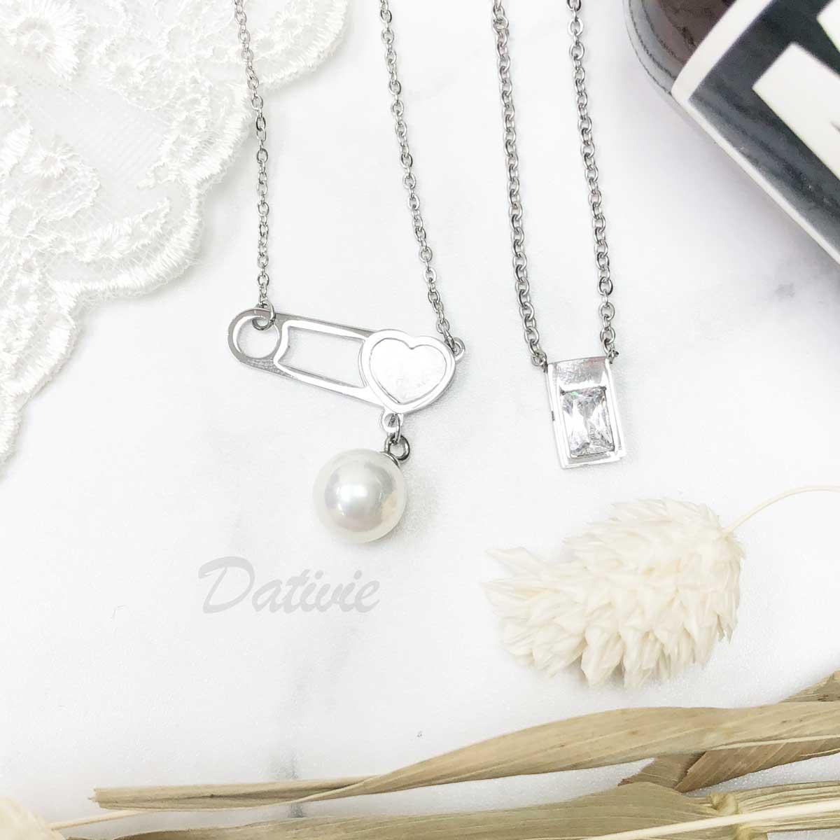 不銹鋼  珍珠 愛心 別針 長方 框邊 水鑽 長項鍊