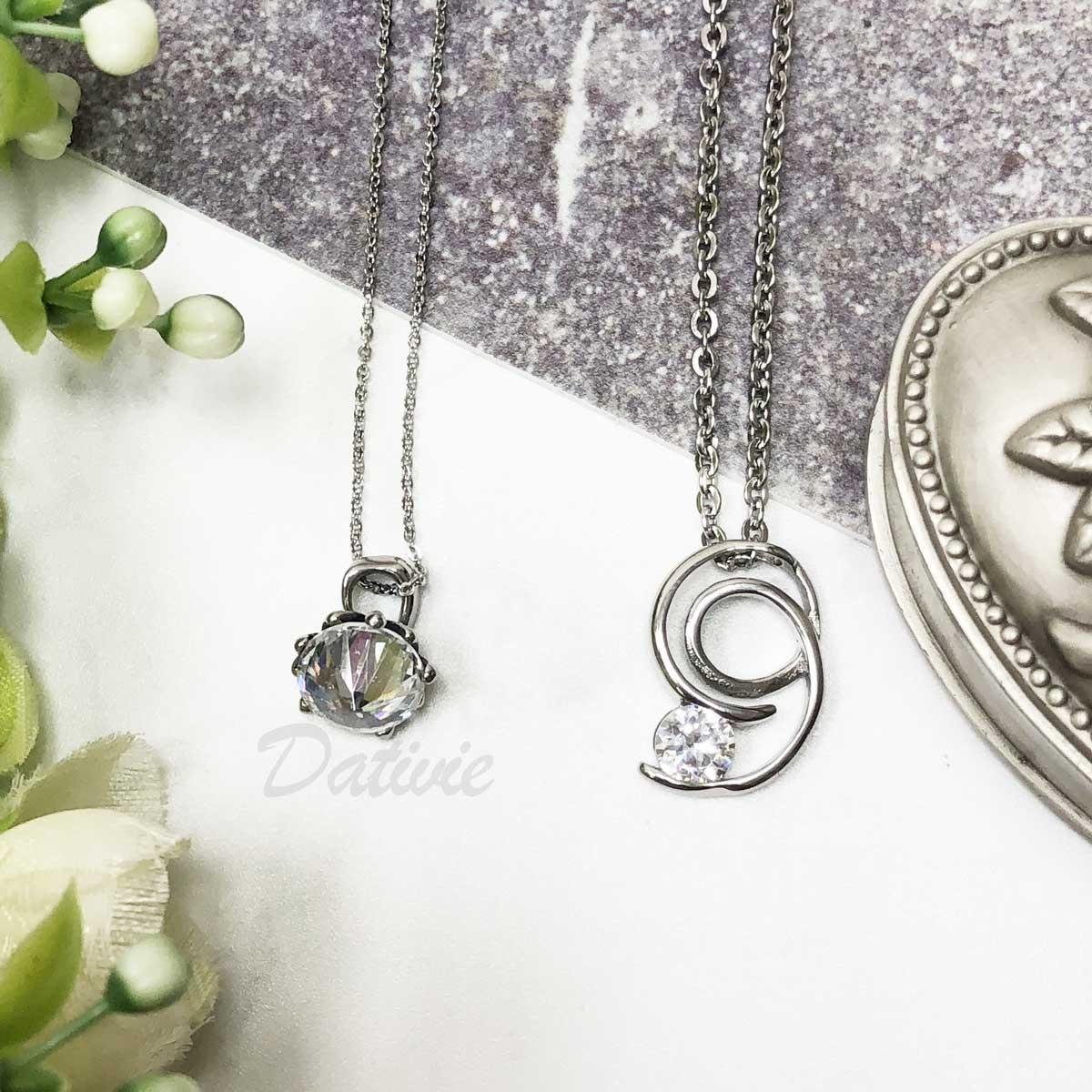 不銹鋼 鏤空 螺旋 單鑽 鑽石 抓鑽 長項鍊