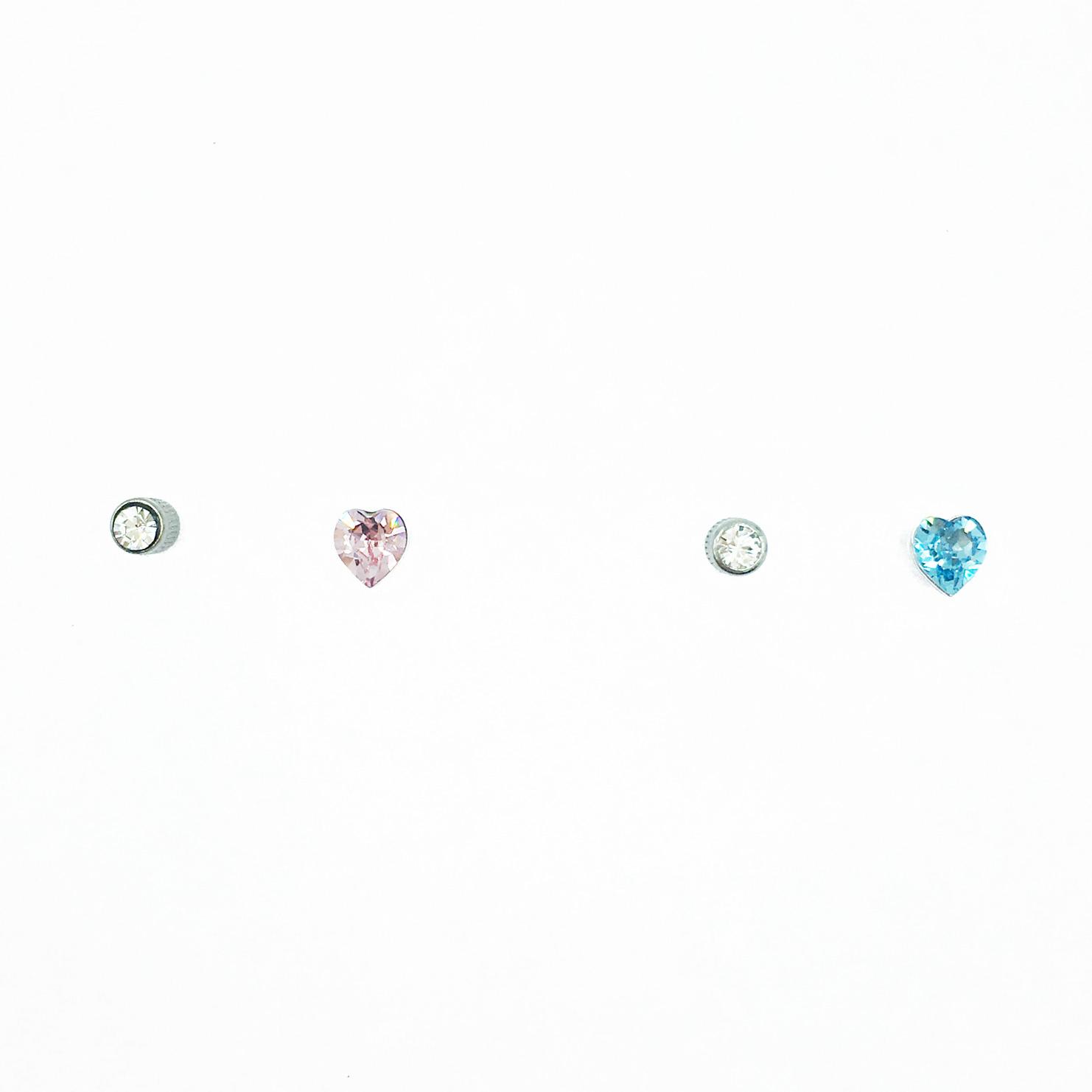 不銹鋼 可愛 愛心 透明 水晶 後轉式耳環