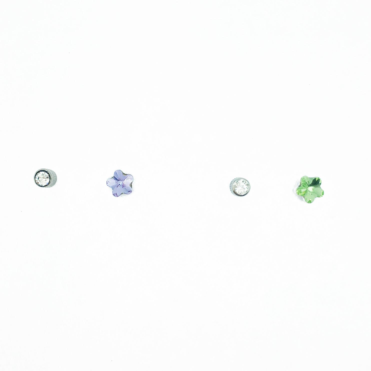 不銹鋼 可愛 花 透明 水晶 後轉式耳環