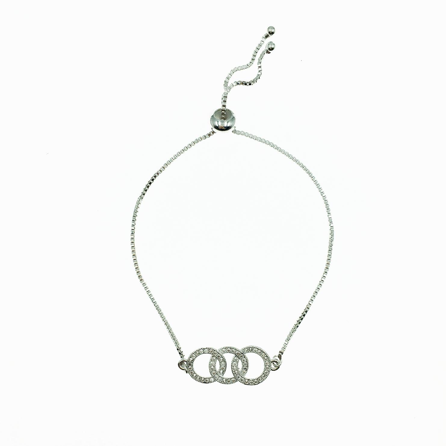 925純銀 圓圈 三環圈 水鑽 精緻 手鍊