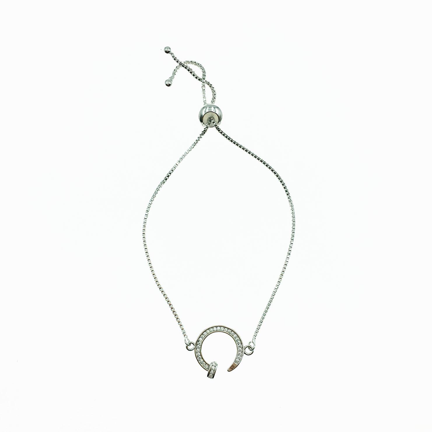 925純銀 馬蹄符號 水鑽 個性 精緻 手鍊