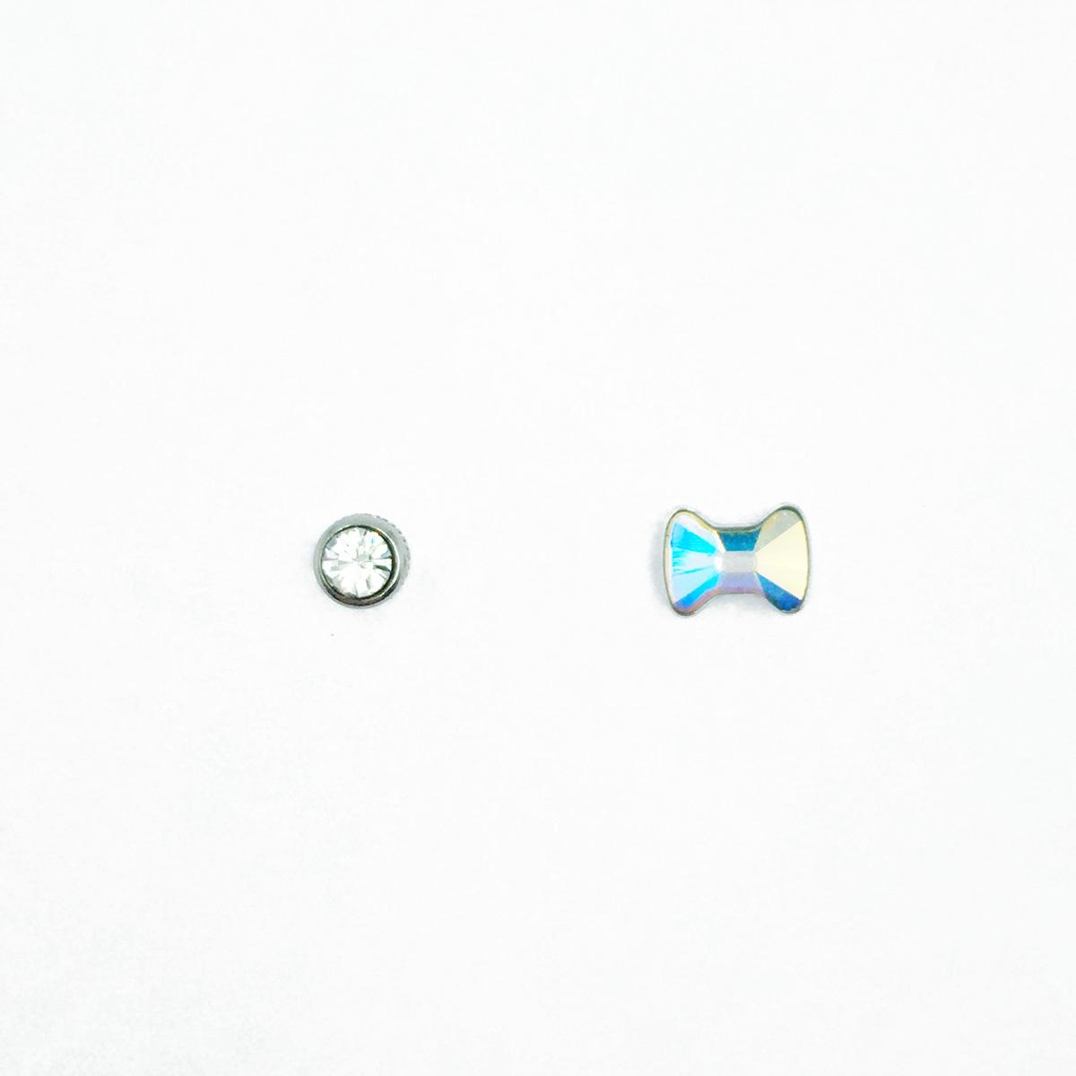 不鏽鋼 蝴蝶結 切割鑽 單鑽 水鑽 後鎖後轉式耳環
