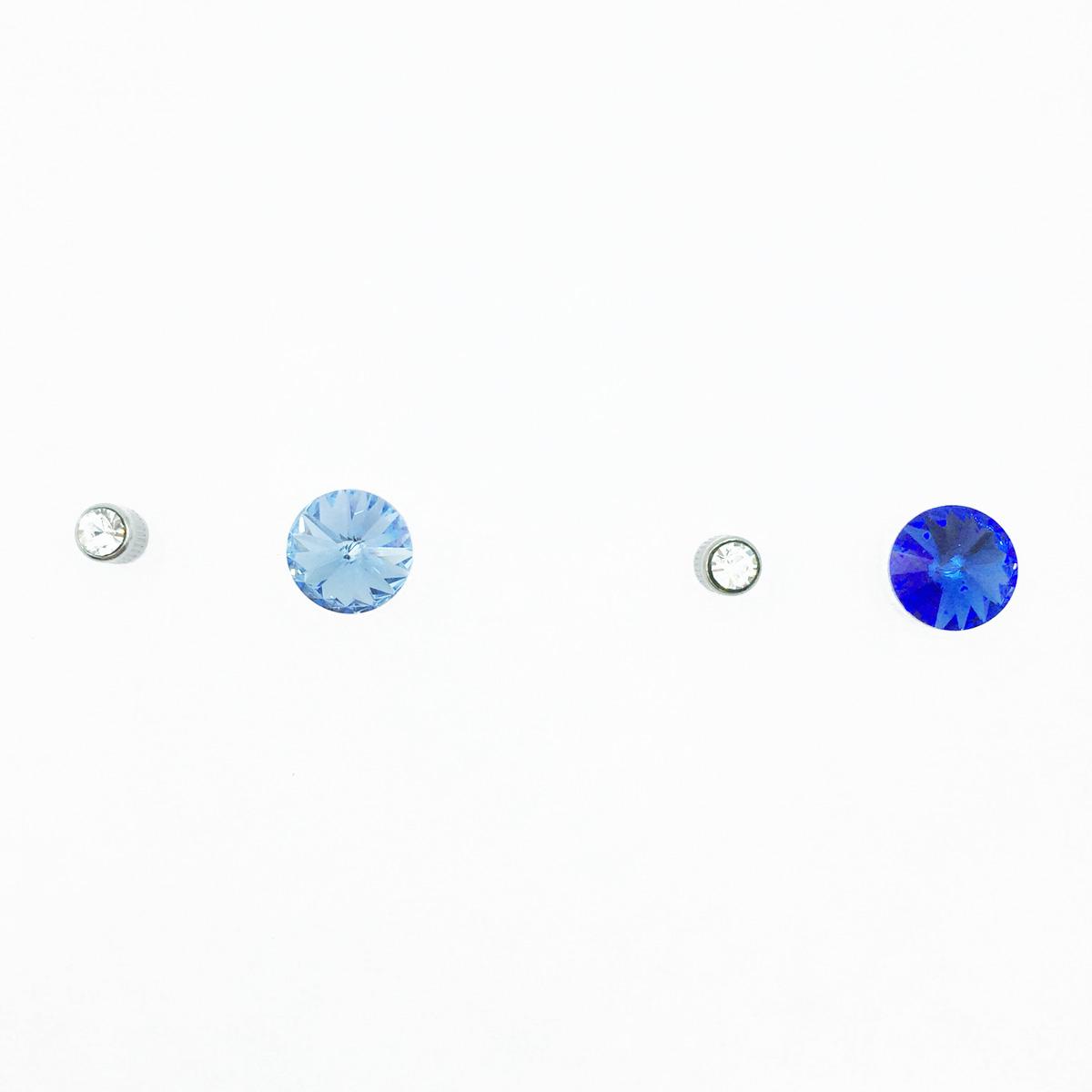不鏽鋼 圓圈 水鑽 切割面 多種顏色 基本款 後轉式耳環