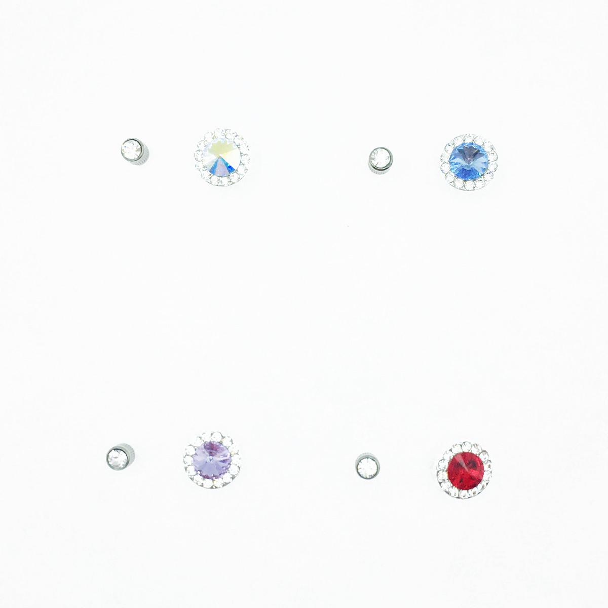 不鏽鋼 圓圈 水鑽 滿版水鑽 基本款 後轉式耳環