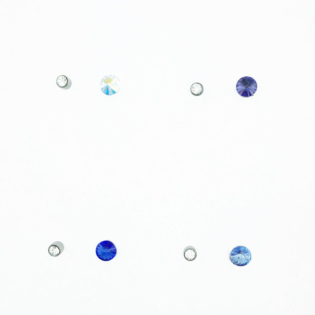 不鏽鋼 圓圈 水鑽 切割面 基本款 後轉式耳環