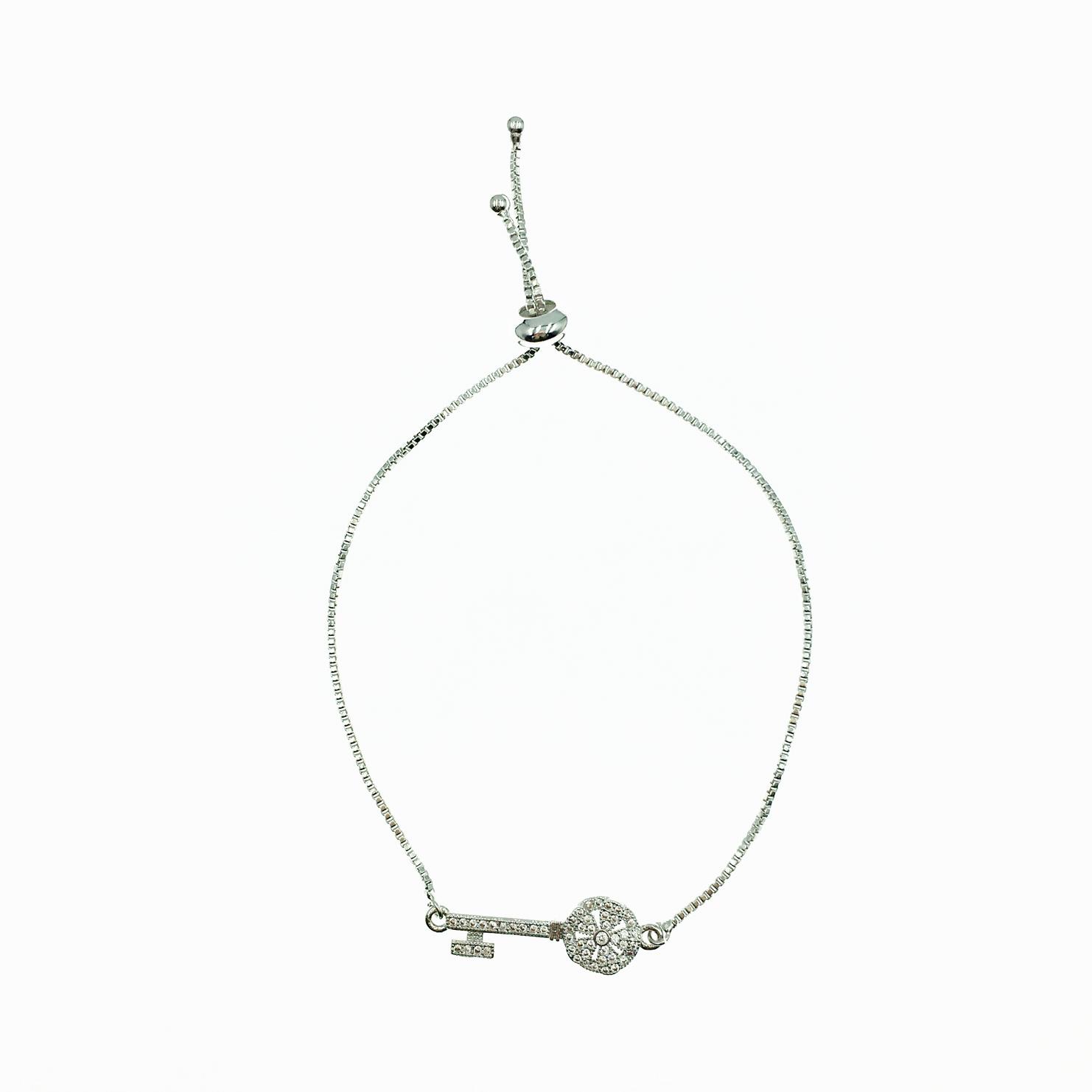 925純銀 鑰匙 水鑽 精緻 手鍊
