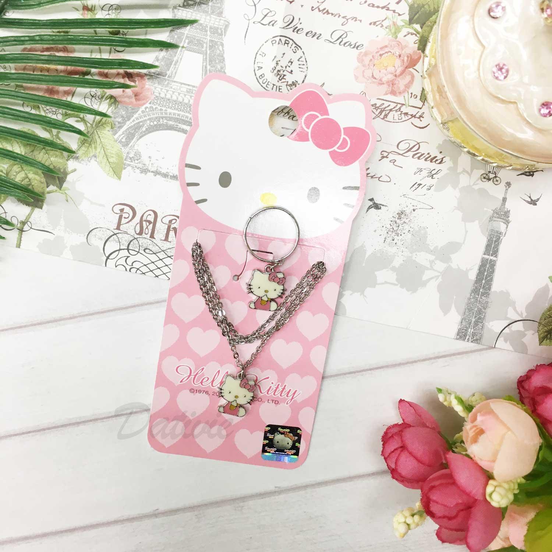 項鍊戒指組 韓國 三麗鷗 Hello Kitty 坐姿Kitty 粉色 項鍊 戒指 飾品
