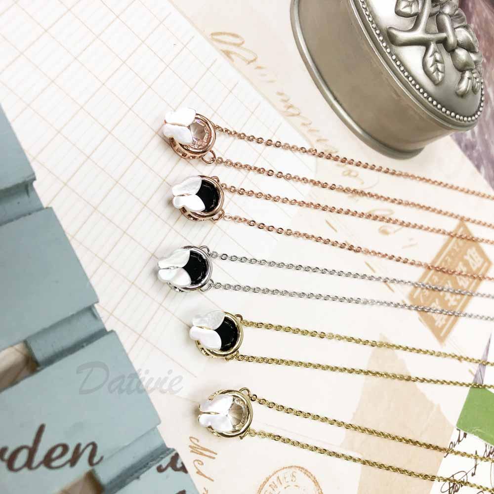 韓國 玫瑰金 弧形蝴蝶 圓型鑽 單顆鑲鑽 水鑽項鍊