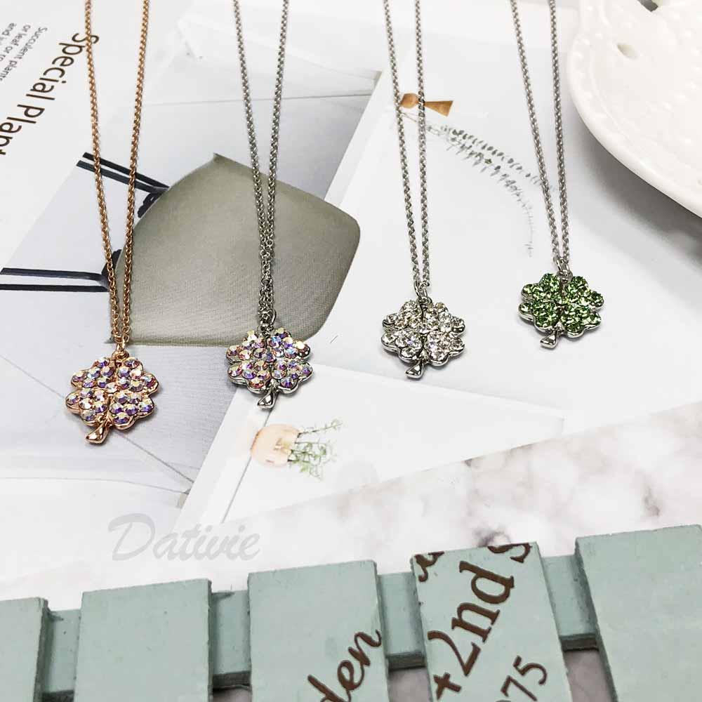 幸運草 玫瑰金 鑲滿鑽 彩鑽 白鑽 綠鑽 水鑽項鍊
