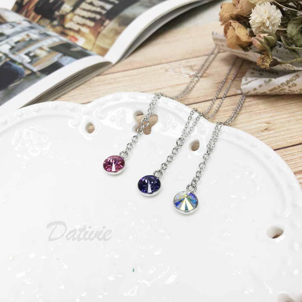 韓國 垂吊單鑽 圓型鑽 粉 紫 白 簡約 水鑽項鍊