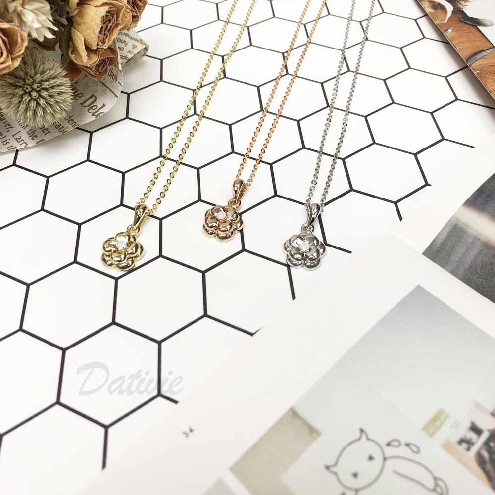 雙小花 浮雕花 玫瑰金 金 銀 簡約 小巧 中鑲鑽 水鑽項鍊