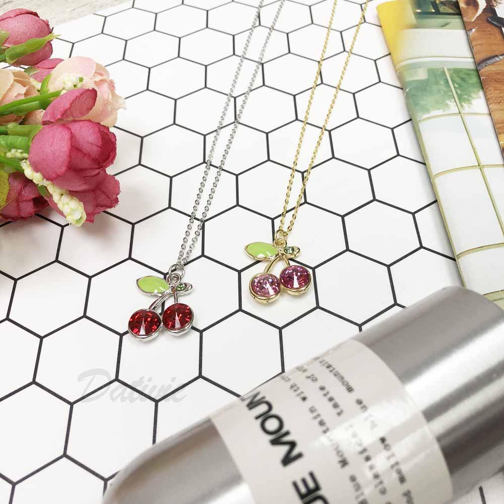 大櫻桃 彩色 葉子 鑲鑽 紅 粉 水鑽項鍊