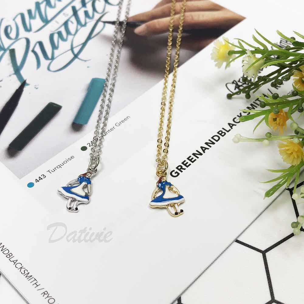 藍色洋裝 女孩 跳舞 銀 金 彩繪 小巧 可愛 精細 項鍊