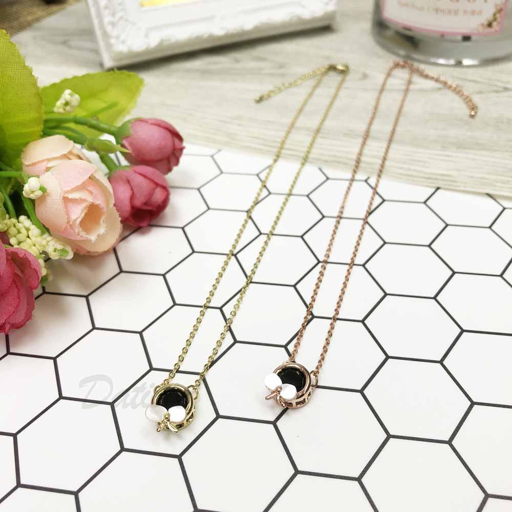 韓國 單翅膀 蝴蝶 單鑽  玫瑰金 金 鑲鑽 水鑽項鍊