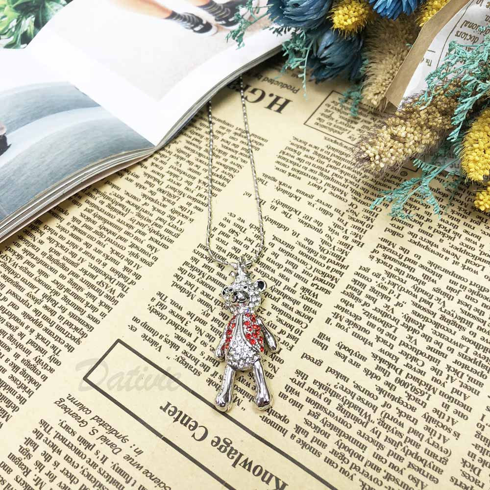 韓國 熊熊 皇冠 立體熊 3D 活動式 鑲鑽 水鑽項鍊