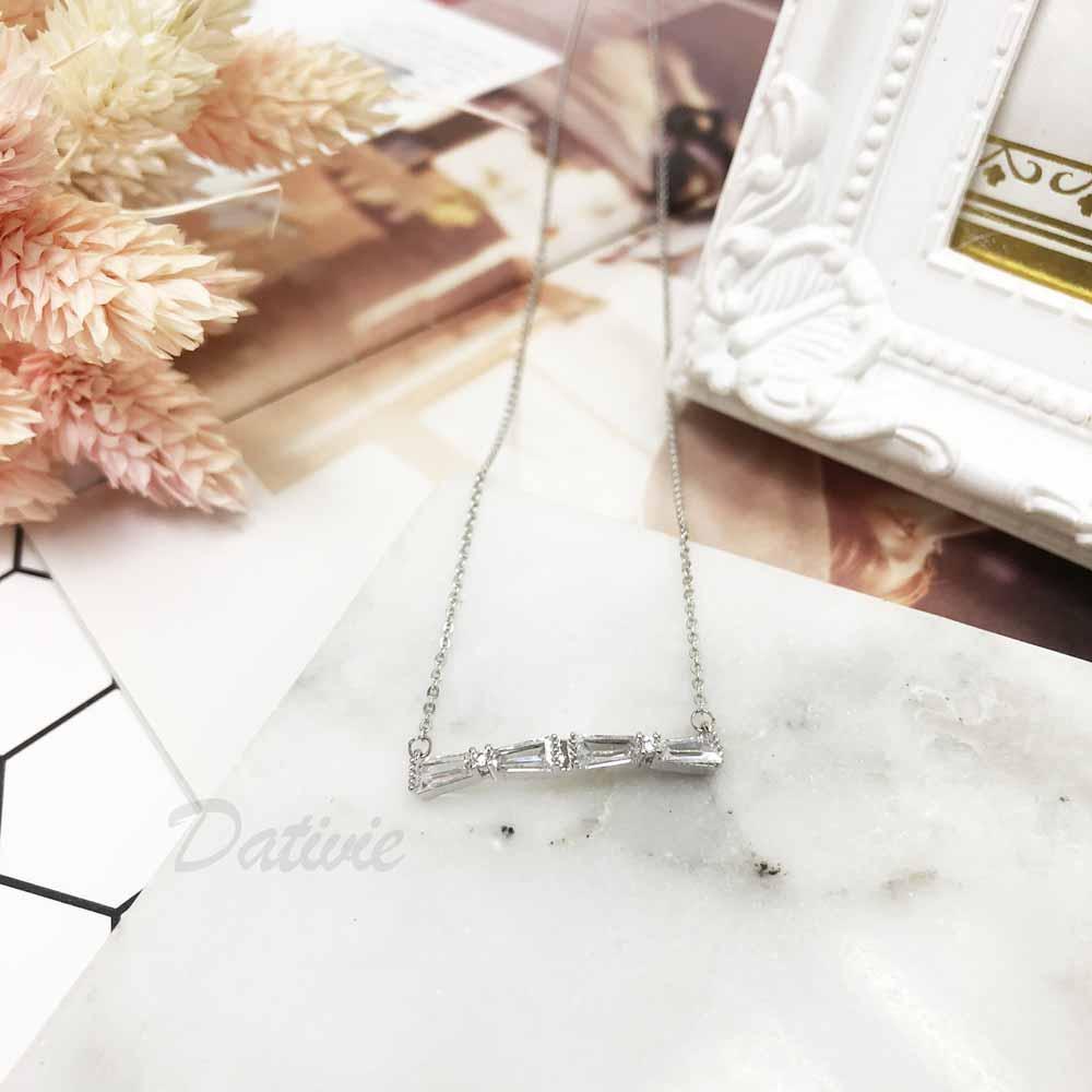 韓國 線條 幾何 不規則 細緻 精緻 氣質 小巧 鑲鑽 水鑽項鍊