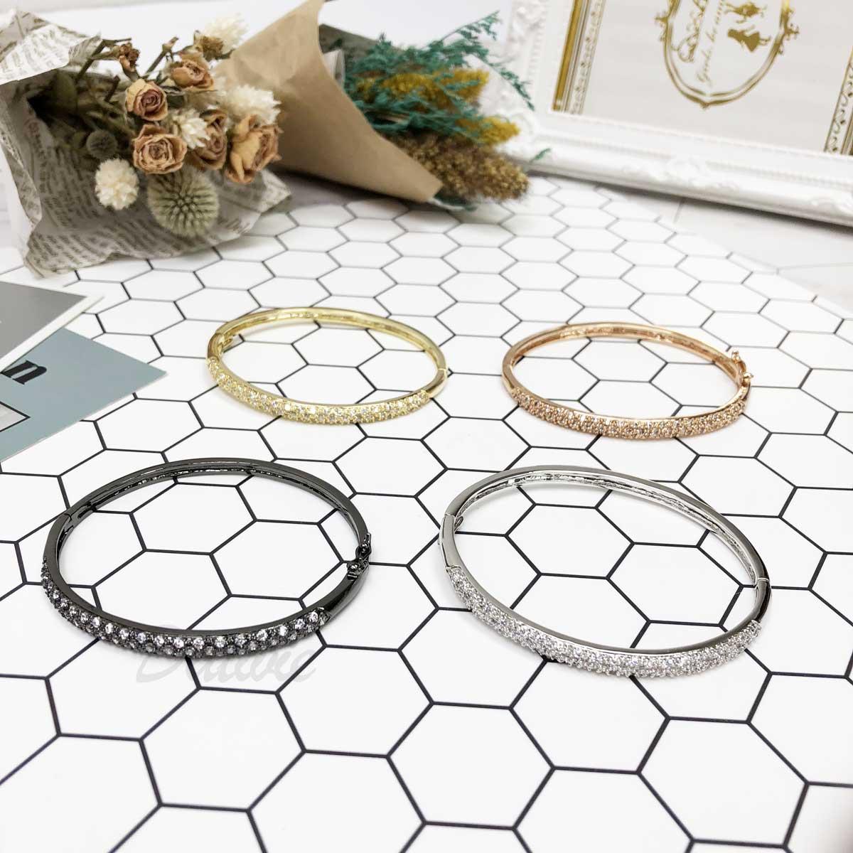 經典 簡單 鑲鑽 玫瑰金 金 銀 黑 氣質款 手環 手飾