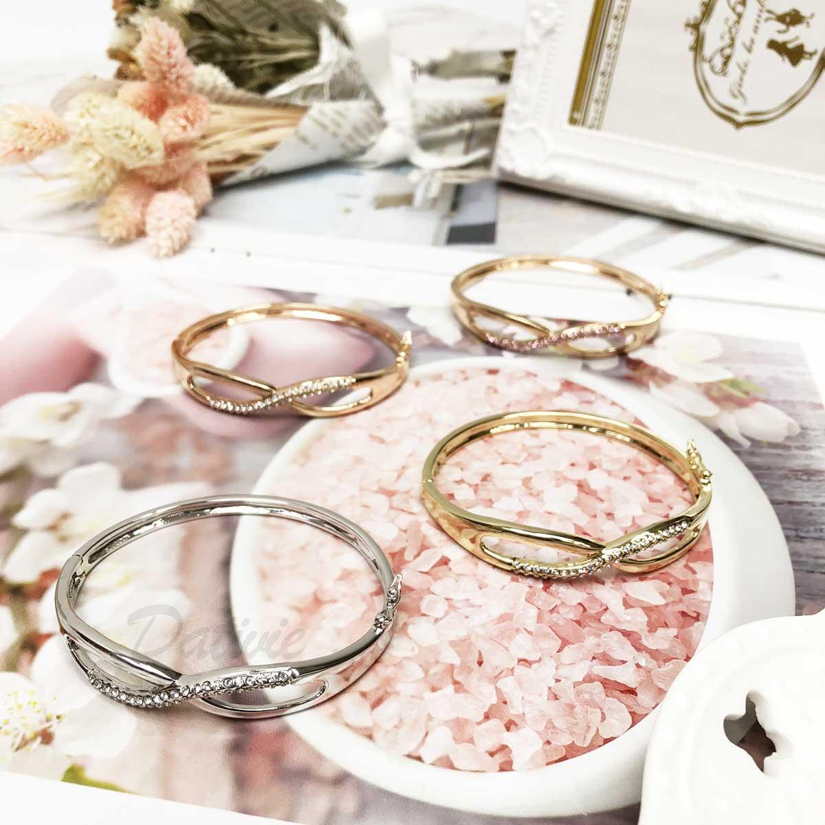 無限大 符號 簡約 玫瑰金 金 銀 黑 氣質款 經典 鑲鑽 手環 手飾