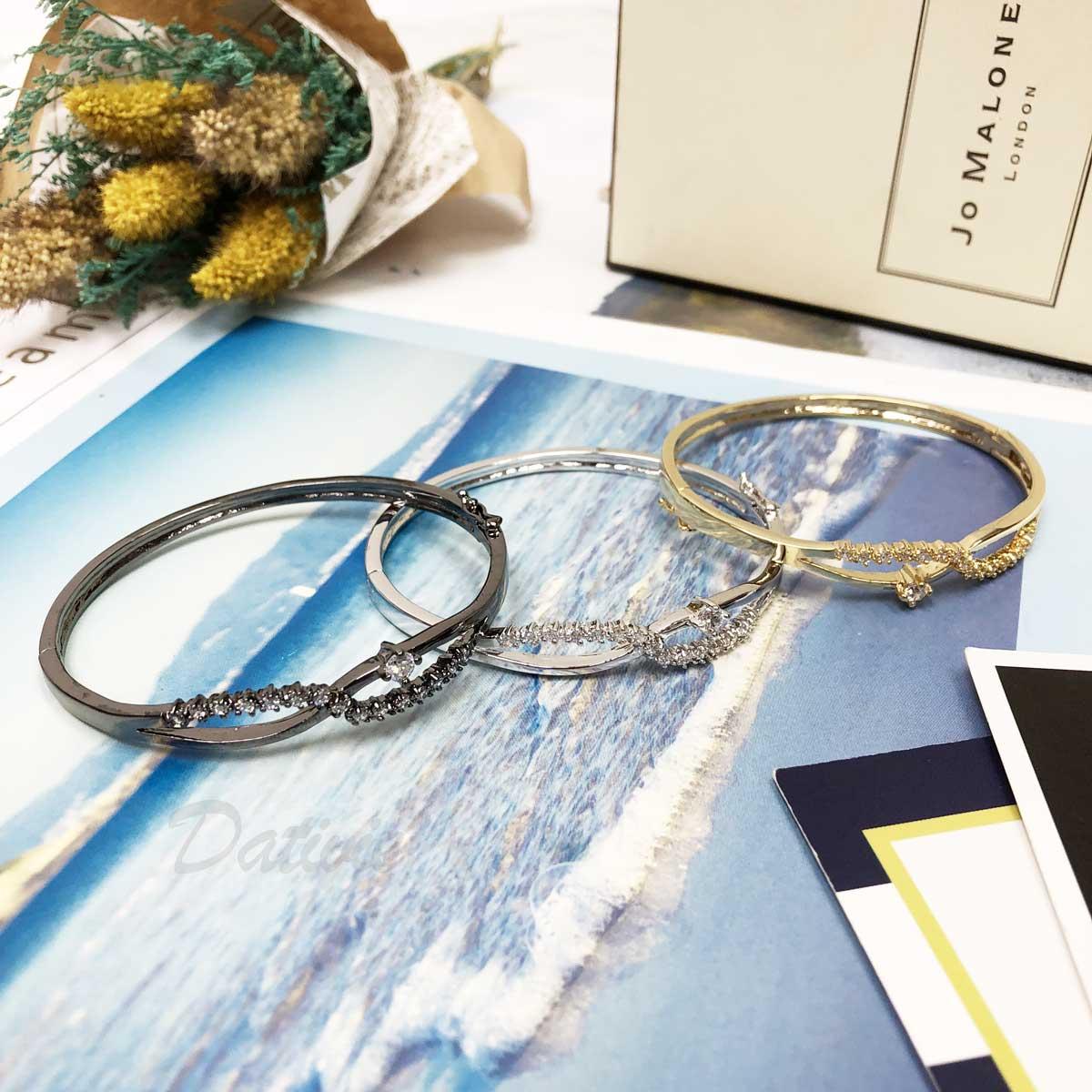 無限大 符號 線條 單鑽 鑲鑽 氣質 手環 手飾