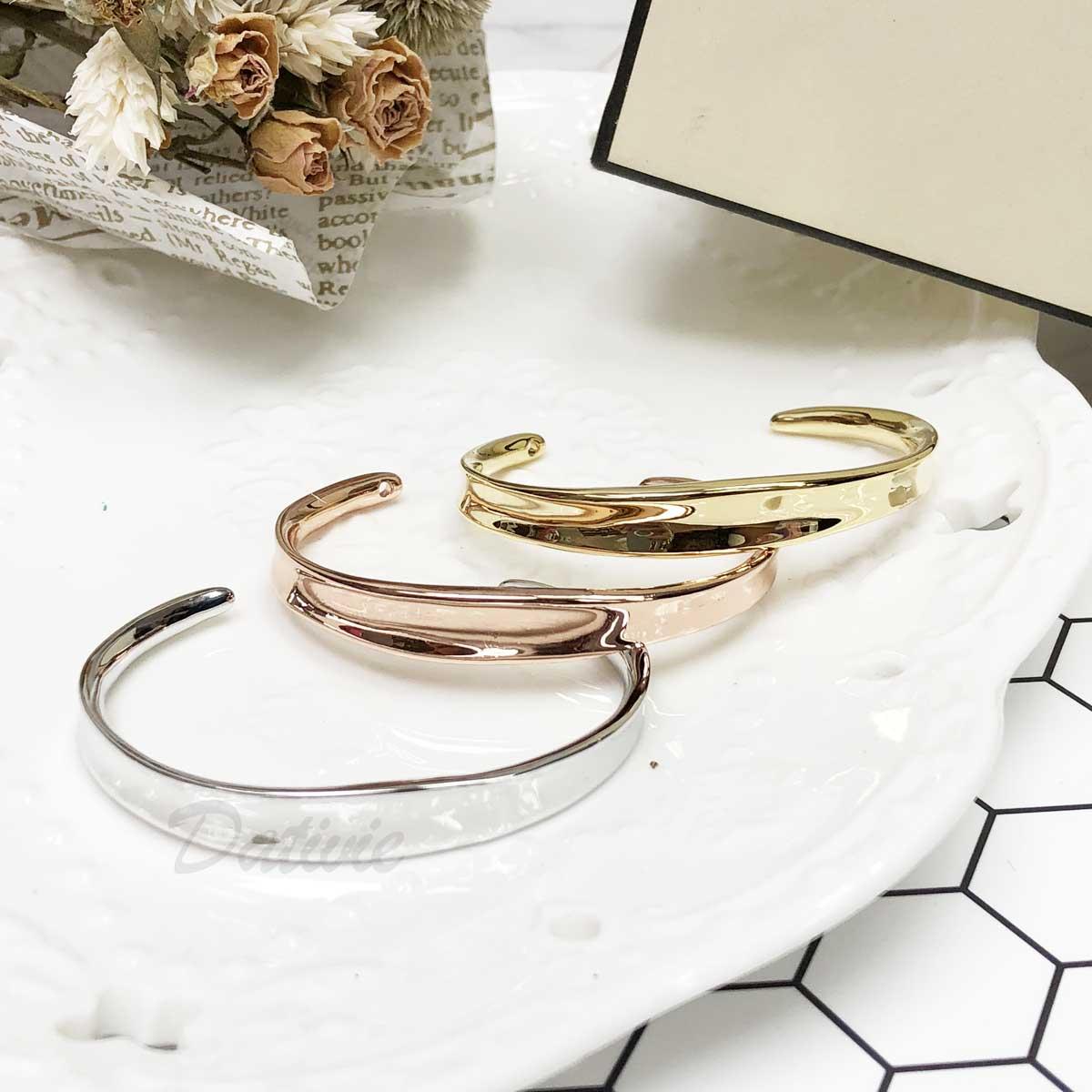 極簡 簡單 簡約 素面 經典款 玫瑰金 金 銀 拋光 手環 手飾