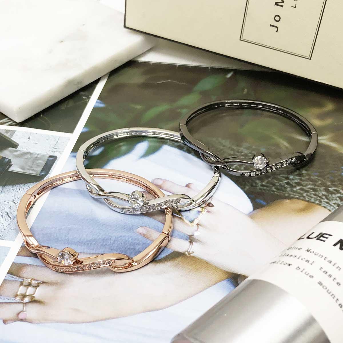 線條 流線 玫瑰金 單鑽 鑲鑽 手環 手飾