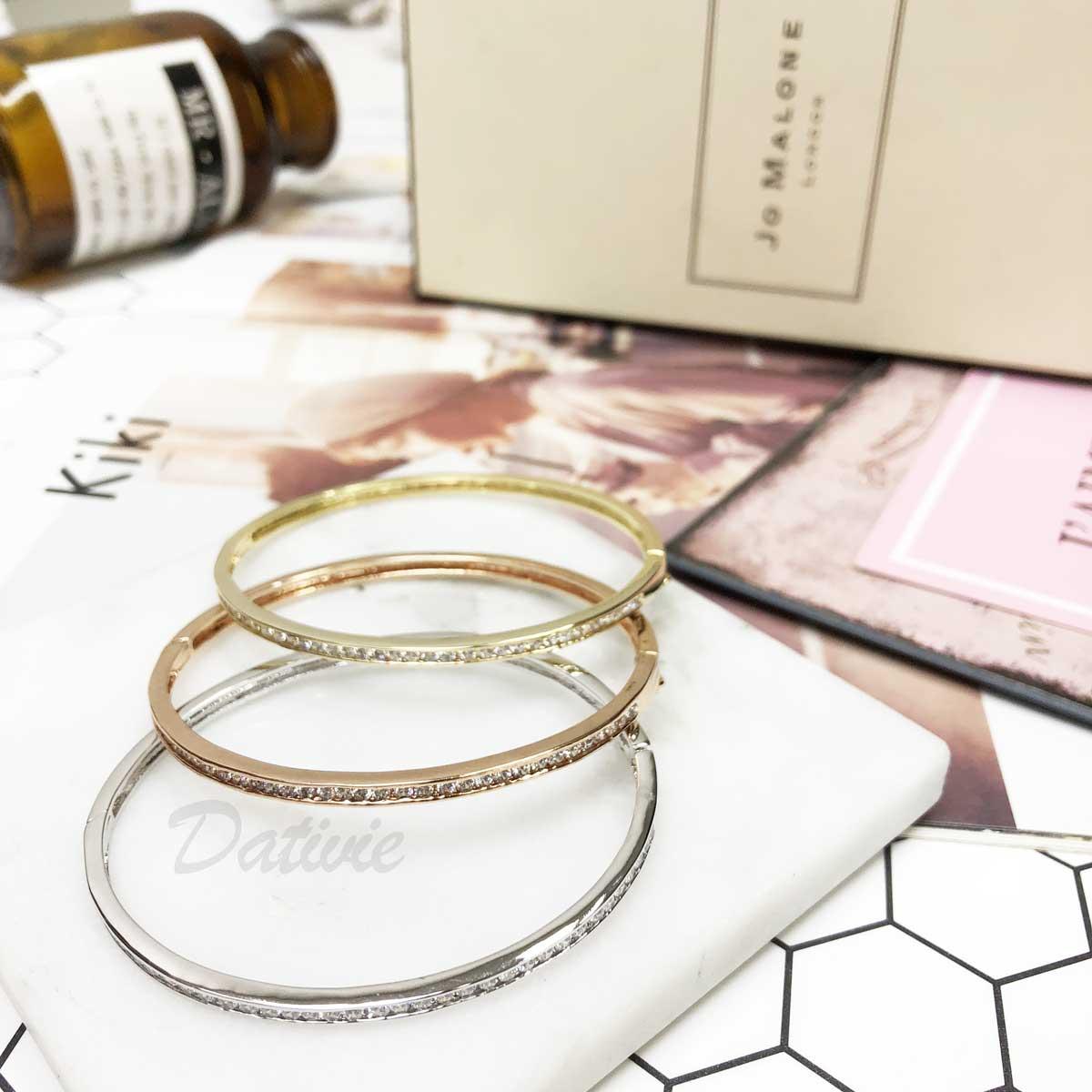 簡單 水鑽 玫瑰金 簡約 小 排鑽 素雅 氣質款 手環 手飾