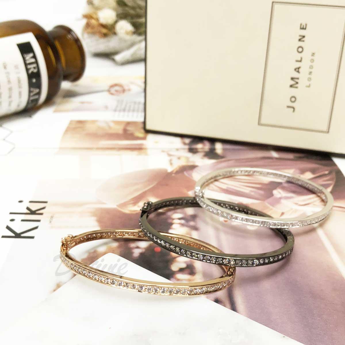 簡單 水鑽 玫瑰金 簡約 大 排鑽 素雅 氣質款 手環 手飾