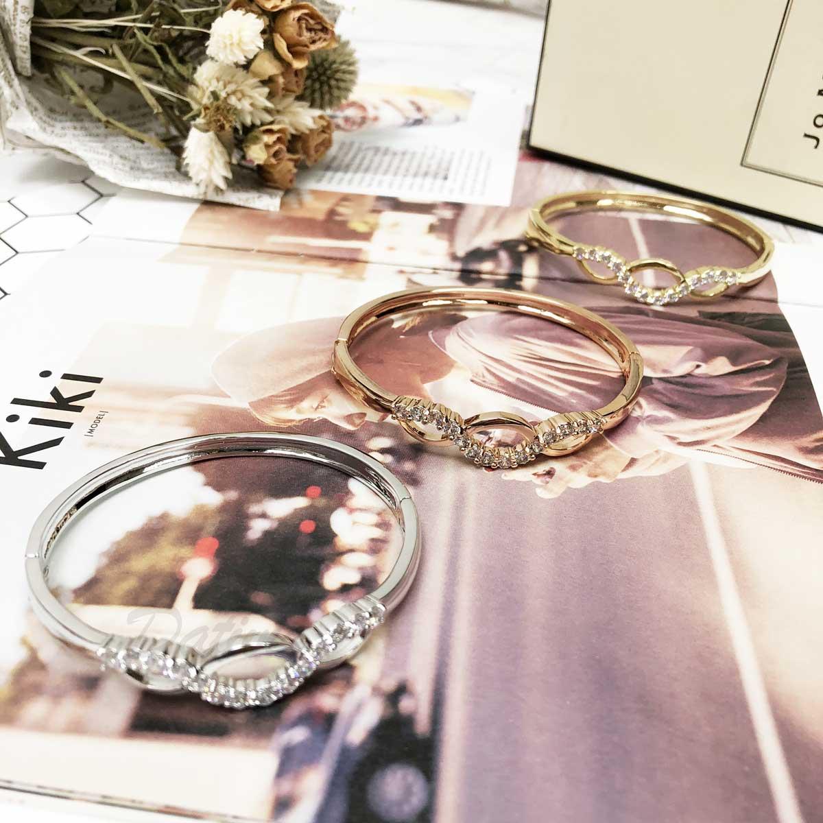 三眼 鑲鑽 水鑽 玫瑰金 線條 簡單 氣質款 手環 手飾