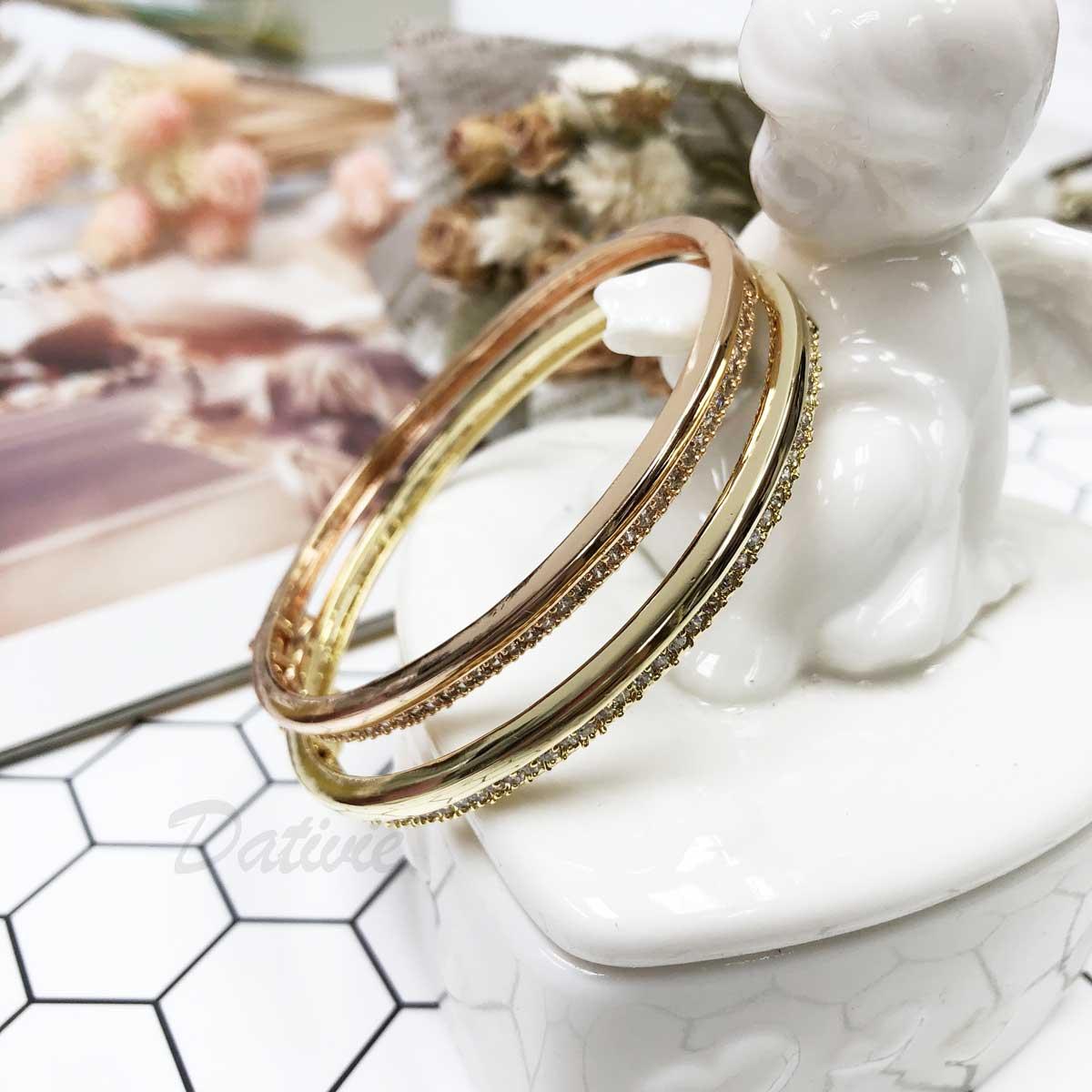 線條 簡約 雙層 鑲鑽 簡單 氣質款 優雅款 玫瑰金 手環 手飾