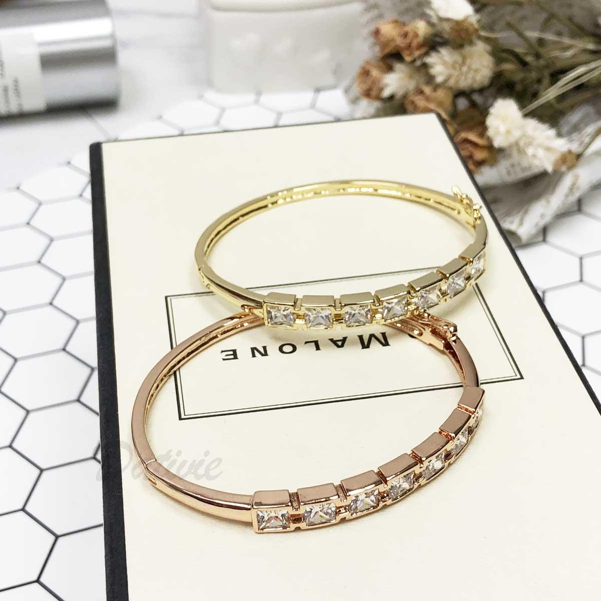 方鑽 排鑽 精緻 玫瑰金 華麗 手環 手飾