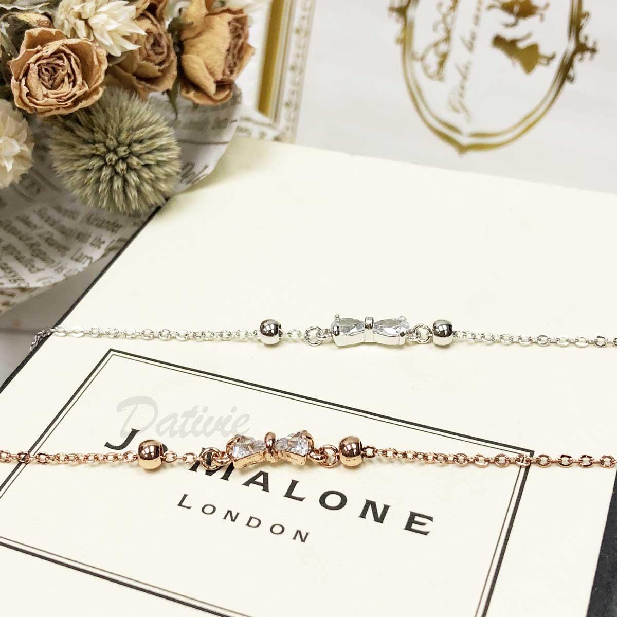 蝴蝶結 活動 珠珠 氣質 玫瑰金 鑲鑽 水鑽 精緻腳鍊